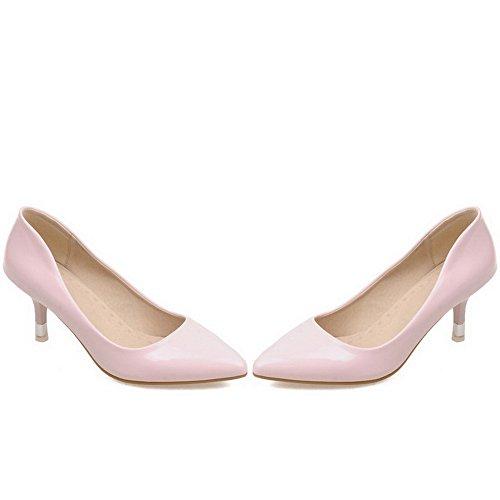 Allhqfashion Dames Pull-on Kitten Hakken Lakleder Stevige Puntige Dichte Teen Pumps-schoenen Roze