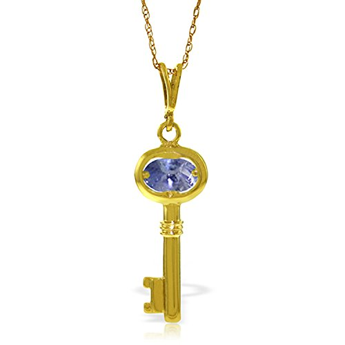 """Galaxy Gold 0.5 Carat 14k 18"""" Solid Gold Necklace with Natural Tanzanite Key Pendant Charm Pendant"""