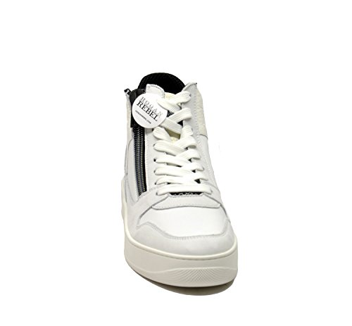 Hogan Rebel Hi Top Sneakers Uomo HXM3050V940EKQ0XGJ Pelle Bianco