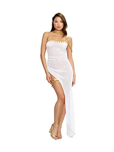 Dreamgirl Women's Sheer White Goddess-Themed One-Shoulder Gown Costume Set -