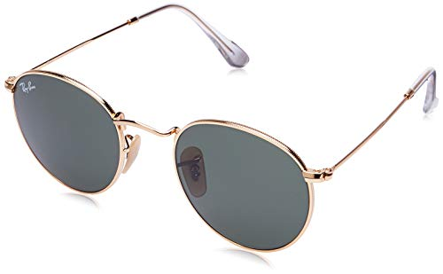RAY-BAN RB3447 Round Metal Sunglasses, Gold/Green, 47 mm (Erika Tortoise)