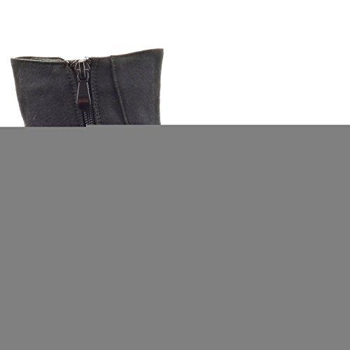 Sopily - Zapatillas de Moda Botines chelsea boots A medio muslo mujer metálico Talón Tacón ancho 3 CM - plantilla Forrada de Piel - Negro