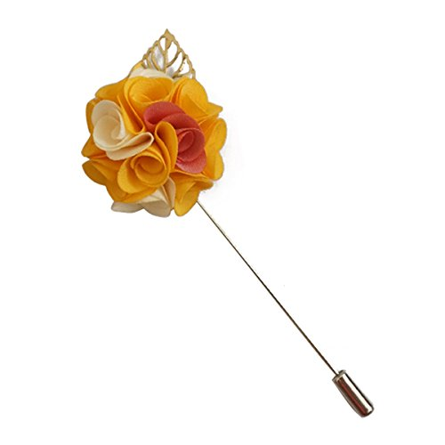Suuny Home Wedding Boutonniere Men Silk Lapel Brooch Hand Crafted Suits Men Flower Lapel Pins (Yellow) (Rose Yellow Brooch)
