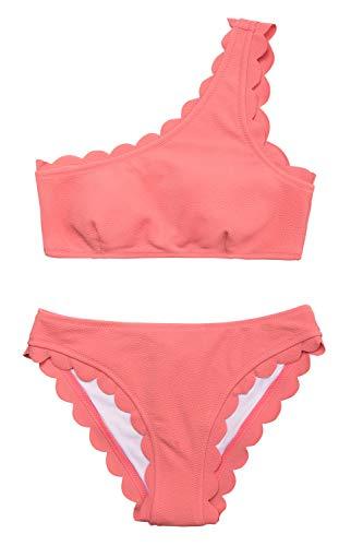 CUPSHE Women's Solid Wavy Edge One-Shoulder Bikini Set Rain of Petals Orange