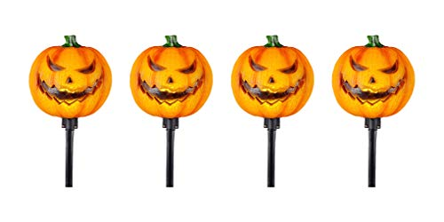 3FWW Jack O' Lantern Pumpkin Pathway Markers with LED Illumination and Halloween Sound Effects (4 Piece Set)