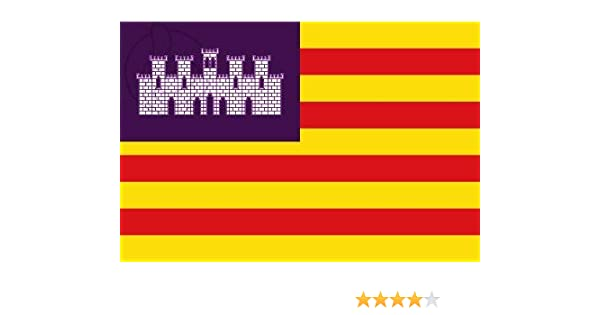 Q&J Bandera Oficial de Baleares - Medidas 150 x 90 cm. - Polyester 100% - para Exterior e Interior: Amazon.es: Jardín