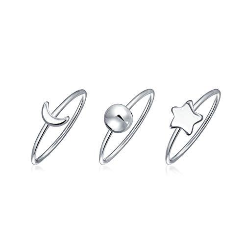 3 Set Stacked Celestial Sun Moon Star Knuckle Midi Rings 1MM For Women For Teen 925 Sterling ()