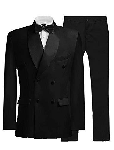 HSLS Men's Double Breasted 2 Piece Suit Shawl Lapel Wedding Suits Tuxedo Jacket Black