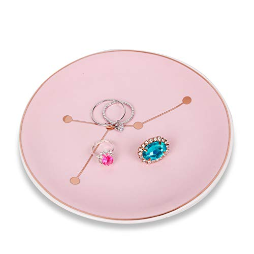 Tenforie Jewelry Dish Ceramic Ring Holder Constellation Trinket Tray Organizer Home Decor Dish for Birthday Wedding Mother's Day Christmas etc. (Cancer)