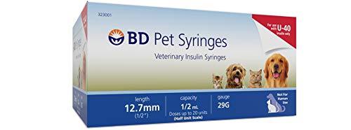 BD U-40 Pet Syringes Veterinary Insulin Syringe 12.7mm 1/2mL 29G(100 Count)