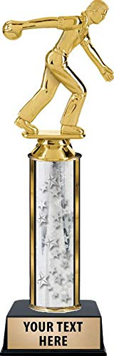 Crown Awards Bowling Male Trophies, Personalized Silver Bowling Male Trophy with Custom Engraving Prime
