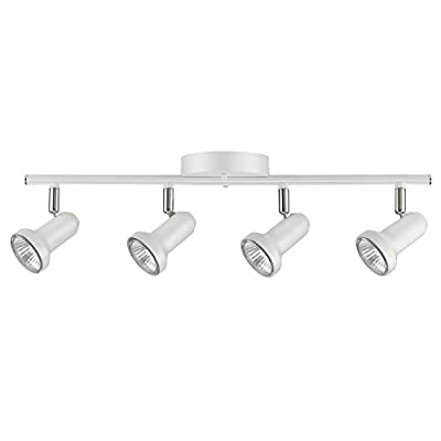 Globe Electric Melo 4-Light Track Lighting, Glossy White Finish, Bulbs Included 59325