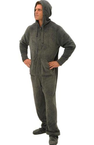 Alexander Del Rossa Mens Fleece Onesie, Hooded Footed Jumpsuit Pajamas