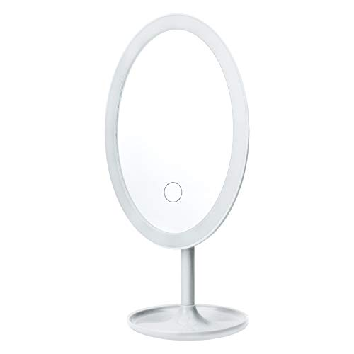Du Jour La Nuit Rechargeable Circular Vanity Mirror with Touchscreen LED Light Brightness Adjustment for Face Make-Up