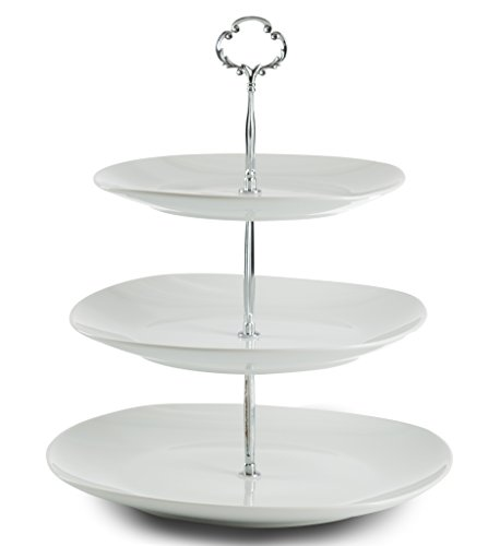 Klikel Three Tiered Serving Stand | Serving Tray For Parties | Square Platter For Cupcakes Fruits Dessert or Tea | Cake Pop Stand And Buffet Server