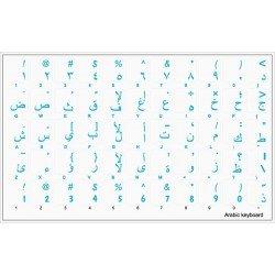 Qwerty Keys Pegatinas Teclado árabe Transparente con Letras Azules - Apto para Cualquier Ordenador o portátil