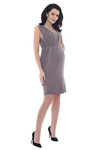 Senza Cappuccino D8437 Gravidanza di Maniche Abito Maternity Purpless fawSpp
