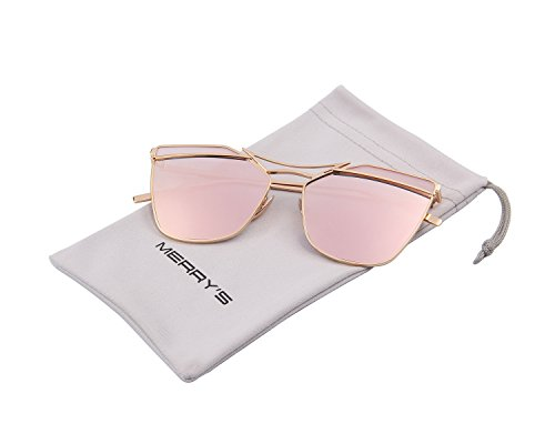 MERRY'S Cat Eye Mirrored Flat Lenses Street Fashion Metal Frame Women Sunglasses S8287 (Pink Mirror, - Round Female 2016 Face For Glasses