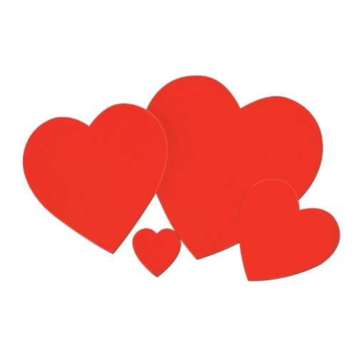 Beistle 77760-4 144-Piece Red Printed Heart Cutout, 4-Inch