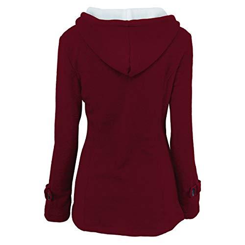 abrigo de de red Invierno con invierno 6XL tamaño y Abrigo ZFFde Color capucha hebilla cuerno de Bordeaux wvtcqpBfI