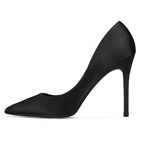Mariage Talons Soie Professions Travail EU UK Femme 2 Noir Party Hauts Black Satin Sexy Mode Chaussures Cour 10cm Nightclub 34 x8wBzwq