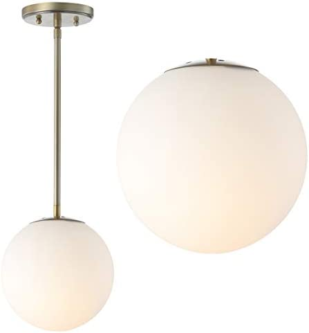 JONATHAN Y JYL9528A Bleecker 7.75 Metal Glass Globe LED Pendant, Contemporary, Dimmable, Adjustable, for Kitchen, Living Room, White Brass Gold