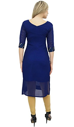 Atassi Bollywood Conception Costume Georgette Droit Kameez Bleu Et Beige Marine Mis Dupatta