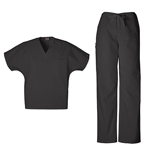 Cherokee 4777 & 4100 WW Originals Unisex Scrub Set - V-Neck Tunic & Drawstring Cargo Pant, Black, M-M