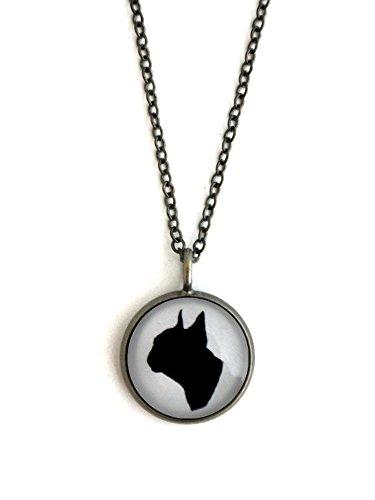 Terrier Antique (Dog Boston Terrier Necklace - Bronze or Antique Silver Cameo Pendant (antique silver))