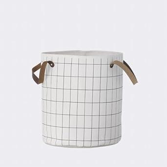 Wunderbar Ferm Living Grid Basket Wäschekorb Aufbewahrungskorb Aus Baumwolle Mit  Ledergriffen H 40cm, Ø 35cm