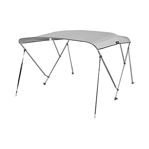 MSC Standard 3 Bow Bimini Boat Top Cover with Rear Support Pole and Storage Boot (Grey, 3 Bow 6'L x 46
