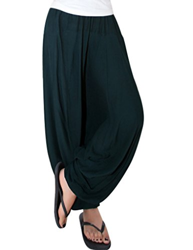 Youlee Mujeres Verano Cintura Elástica Pantalones Harem Verde oscuro
