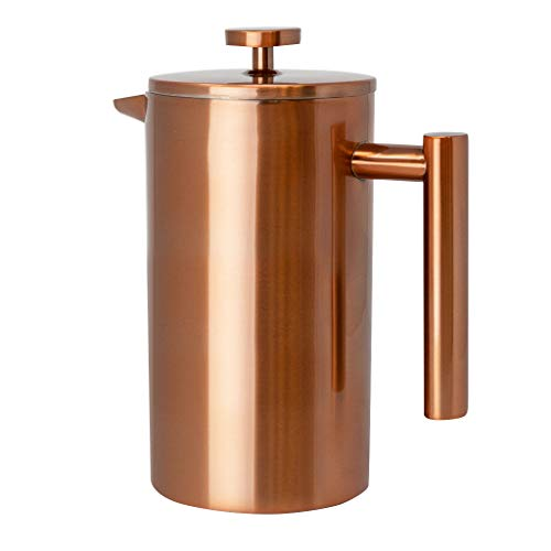 (MIRA 34 oz Stainless Steel French Press Coffee Maker with 3 Extra Filters | Double Walled Insulated Coffee & Tea Brewer Pot & Maker | Keeps Brewed Coffee or Tea Hot | 1000 ml (Copper))