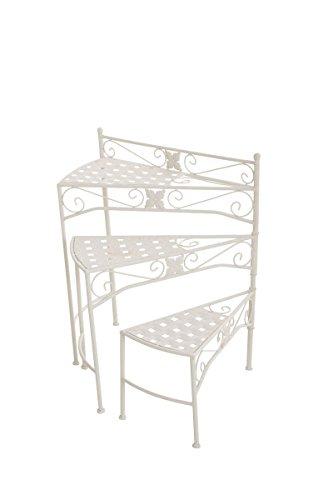 CLP Metall-Blumentreppe / Blumentisch SWING, verstellbaren Stufen, klappbar, Höhe 65 cm, bis zu 6 Farben wählbar weiß