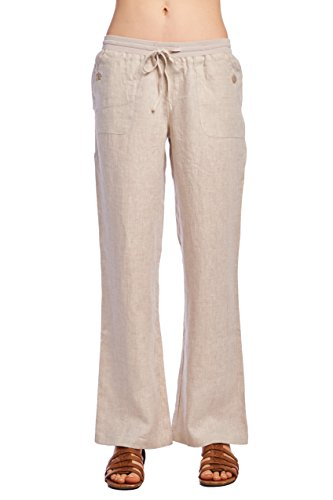 Womens Linen Drawstring Pants - 4
