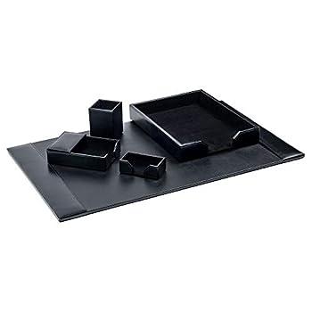 Image of Dacasso Black Bonded Leather Desk Set, 5-Piece