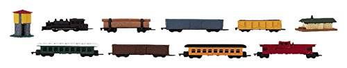 - Safari Ltd Steam Train TOOB With 10 Connectable Hand Painted Figurines, Including Steam Engine, Log Car, (2) Passenger Cars, (3) Box Cars, a Caboose, Water Tower and Train Station.