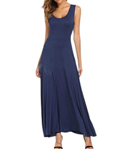 Crew Pattern1 Sleeveless Dress Long Coolred Colored Solid Neck Women Stylish Maxi wPWZvBqt