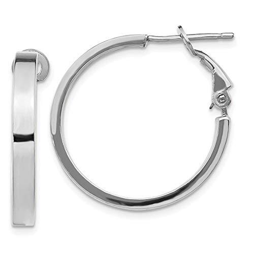 14K White Gold 24mm x 3mm Omega Back Hoop Earrings