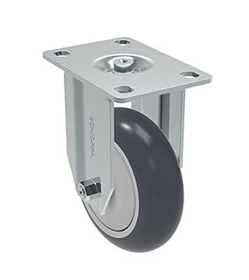 "Schioppa FLA 412 TBE L12 Series 4"" x 1-1/4"" Diameter Rigid Caster, Non-Marking Thermoplastic Rubber Precision Ball Bearing Wheel, Plate 3-3/4"" x 2-1/2"" (Bolt Holes 3"" x 1-3/4""), 220 lb"