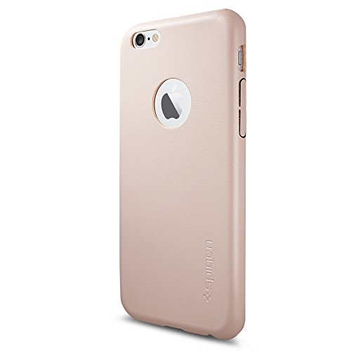 Spigen Schutzhülle iPhone 6 / 6S Hülle LEATHER FIT [Synthetisches PU-Leder] - Tasche, Leder Look - Nude Pastell [Soft Pink - SGP11357]