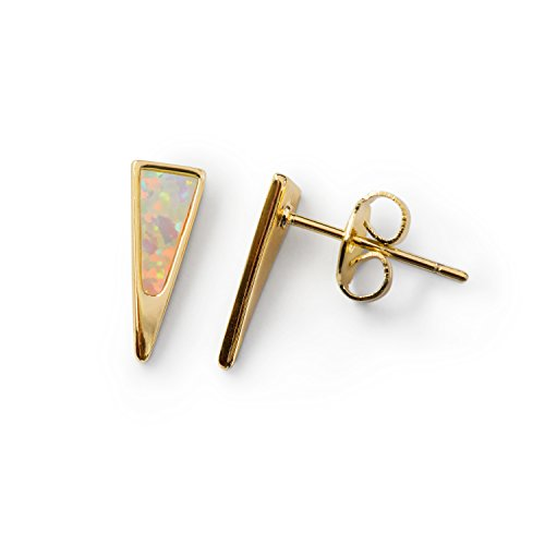 Gold Stud Earrings: Opal Dagger Gold Earrings Surgical Steel Earrings Triangle 14k Stud Earrings for Women Gold Dipped Small White Fire Opals Womens Studs Stainless Steel Pair
