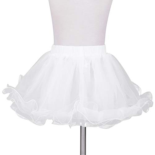 YiZYiF Little Girls Wedding Flower Girl Bouffant Half Slip Skirt 3 Layers Tutu Ruffles Crinoline Petticoat White 5-6 Years ()