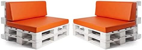 Pack de 2 colchonetas para sofas de palet y respaldo Naranja (2 x Unidad) Cojin relleno con espuma. | Cojines para chill out, interior y exterior, ...