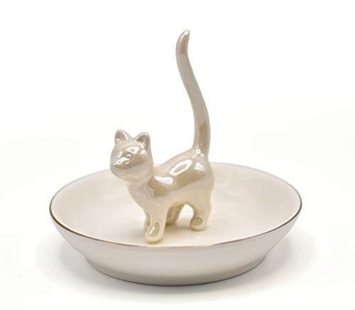 Exembe White Kitty Shape Ceramic Ring Holder Jewelry Tray Trinket Dish Dressers Tray