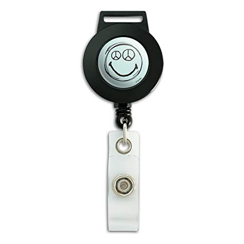 Smiley Peace Sign Eyes Face Lanyard Retractable Reel Badge ID Card Holder