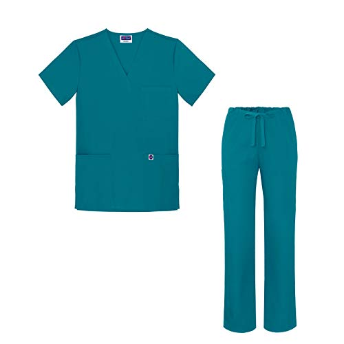Sivvan Medical Uniform Scrub Set - V-Neck Scrub Top Drawstring Scrub Pants Unisex fit - S8402 - Teal Blue - L
