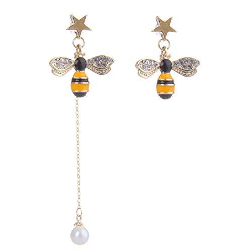 Earrings Flower Drop Crystal (Gold Plated Bee Stud Dangle Drop Earrings for Women Girls Yellow Flower Crystal Jewelry by SUNSCSC (pearl Dangle earrings))