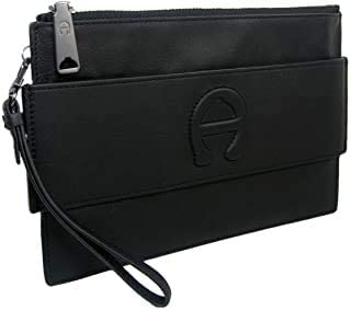 New Etienne Aigner A Logo Large Wristlet Purse Hand Bag Geniune Leather Black