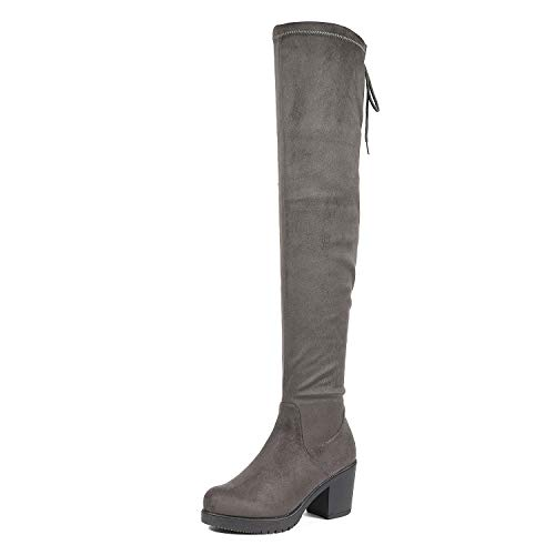 - DREAM PAIRS Women's HI_Chunk Grey Over The Knee High Boots Size 8.5 B(M) US